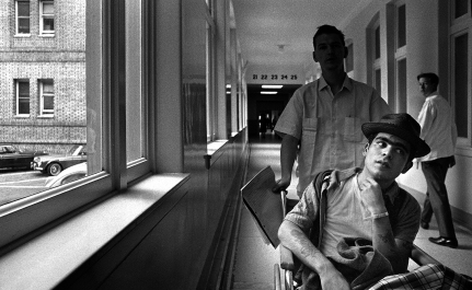 San Francisco General Hospital. The Drifter and his friend are on their way to their assigned room to have stiches removed from his head wound he received as a result of a mugging on Skid Row. No one objected to my photography in the hospital. Today, with all the privacy laws, you can't.