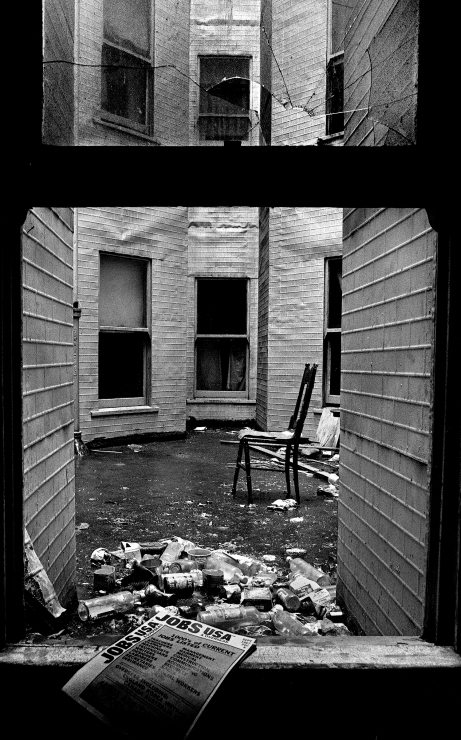 Courtyard view. During WW2, these Skid Row hotels were temporary homes for merchant marine sailors passing through, shipyard and dockworkers. In the 1960s, the tenants were mostly single male pensioners…and lots of rats.
