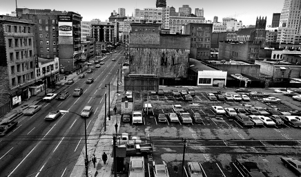 View from the Netherlands Hotel on 4th and Howard Streets. The San Francisco Redevelopment Agency's Yerba Buena Project redeveloped this area in the 1970s featuring the Moscone Convention Center as the centerpiece to the right.