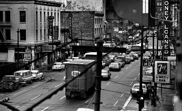 View of Third Street from the Yerba Buena Hotel on 3rd and Howard Streets. The history of this area goes back to the 1850s when San Francisco was an important shipping port. But because of the lack of space and rail lines, Oakland has become the dominant shipping center for the area.