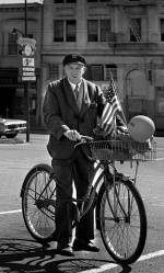 This guy worked as a messenger. His bike was his prized possession and livelihood