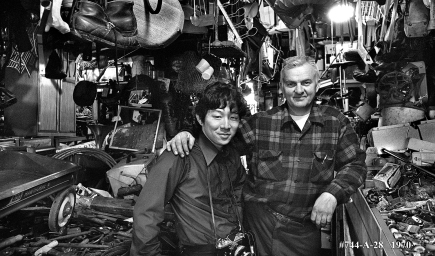 Photographer Ted Kurihara and storeowner. He planned to retire when forced to move out. He was not a resident of Skid Row.