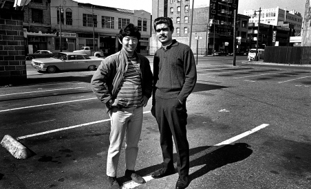 Photographer Ted Kurihara and friend. Having grown up on a farm in Hawaii, I never heard of Skid Row until I got here.