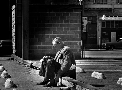 Few resources were available to the residents of Skid Row in the 1960-70s. Alcoholics like this guy were easy prey for muggers. They get drunk after receiving their monthly pension check then mugged. Having no money for their hotel room, they get kicked out into the streets until their next pension check.