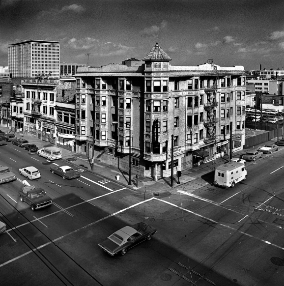The Netherlands Hotel as viewed from the Mars Hotel on 4th and Howard Streets. This area was considered the central area of Skid Row that dates back to the 1930s.