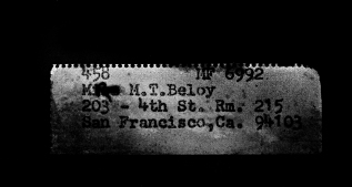 Address on a notepaper found in an abandoned room.