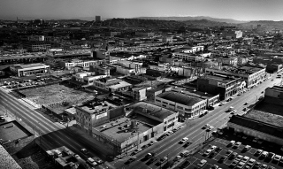 View of Third and Folsom Streets from the Pac Tel building at 666 Folsom St. This area is the eastern boundaries of Skid Row. In a few years, the Yerba Buena Project will redevelop this area.