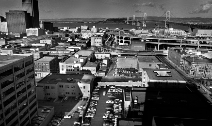 View of Treasure Island from the Pac Tel building 666 Folsom St.